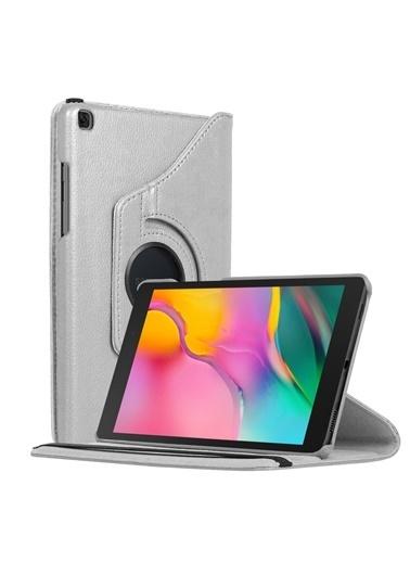 """Microsonic Samsung Galaxy Tab A 8"""" 2019 T290 Kılıf 360 Rotating Stand Deri Gümüş Gümüş"""